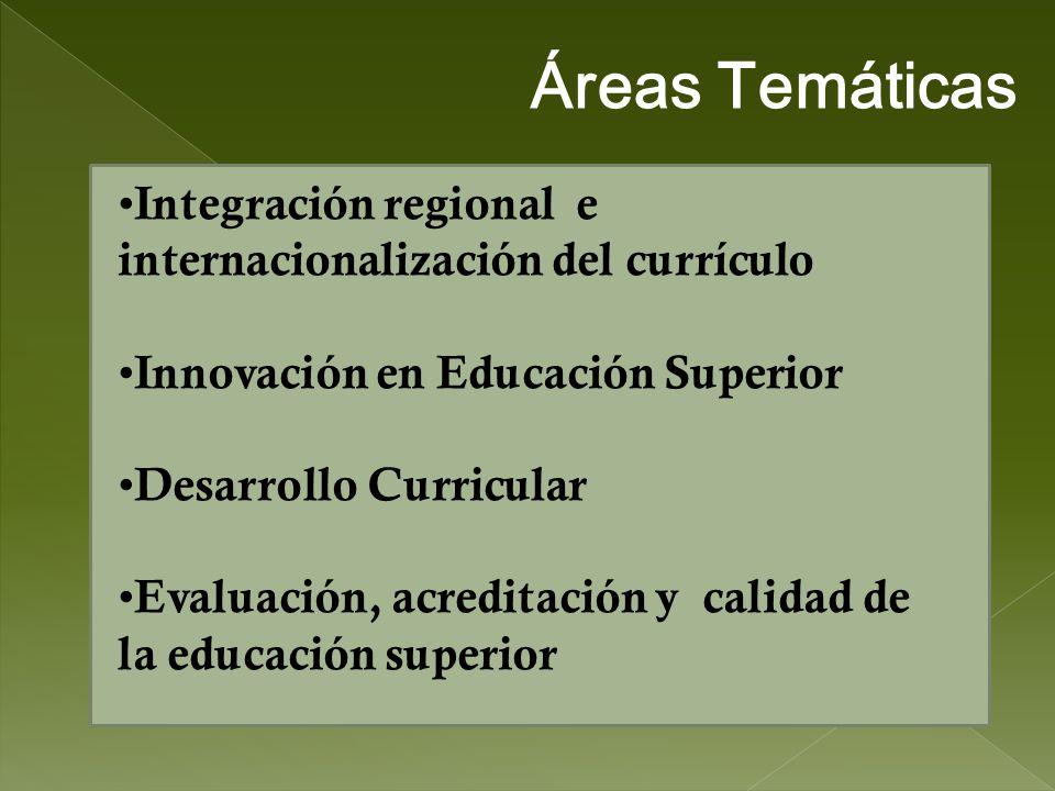 Integración regional e internacionalización del currículo Innovación en Educación Superior Desarrollo Curricular Evaluación, acreditación y calidad de