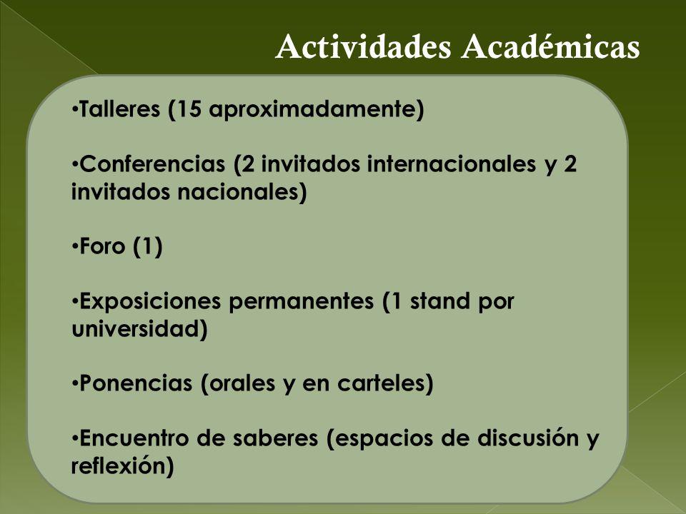 Talleres (15 aproximadamente) Conferencias (2 invitados internacionales y 2 invitados nacionales) Foro (1) Exposiciones permanentes (1 stand por unive