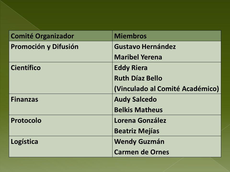 Comité OrganizadorMiembros Promoción y Difusión Gustavo Hernández Maribel Yerena Científico Eddy Riera Ruth Díaz Bello (Vinculado al Comité Académico)