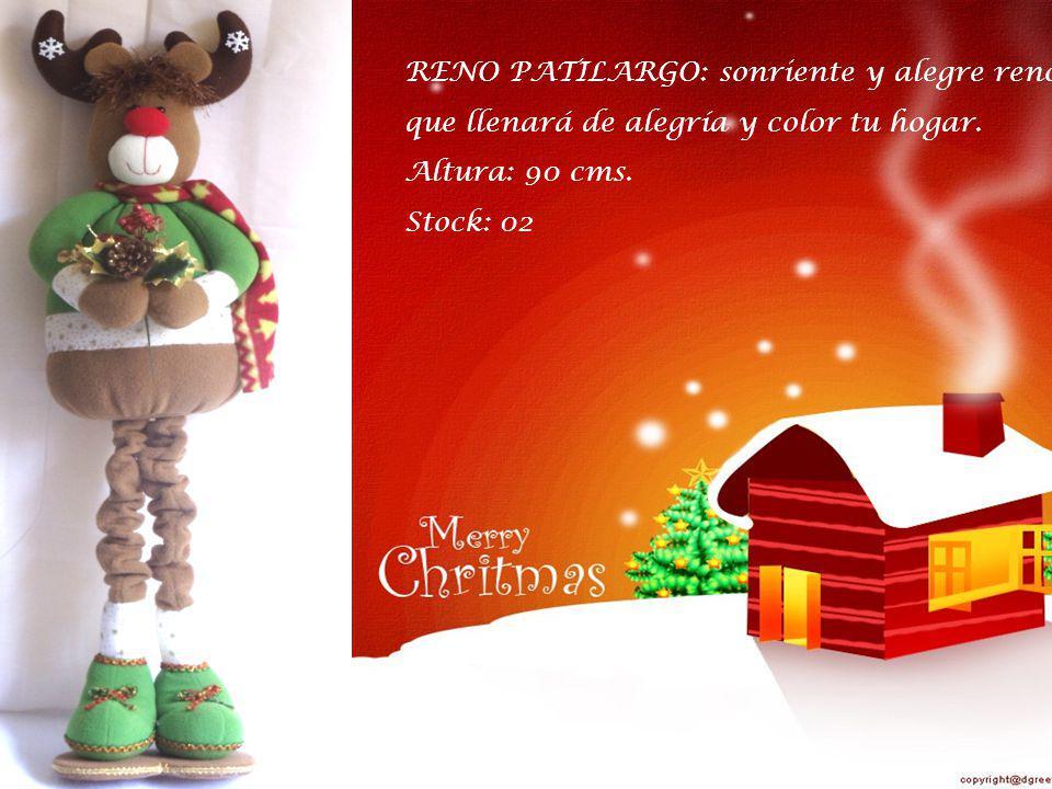 NOEL PATILARGO: hermoso y divertido muñeco que dará vida y color a tu navidad.
