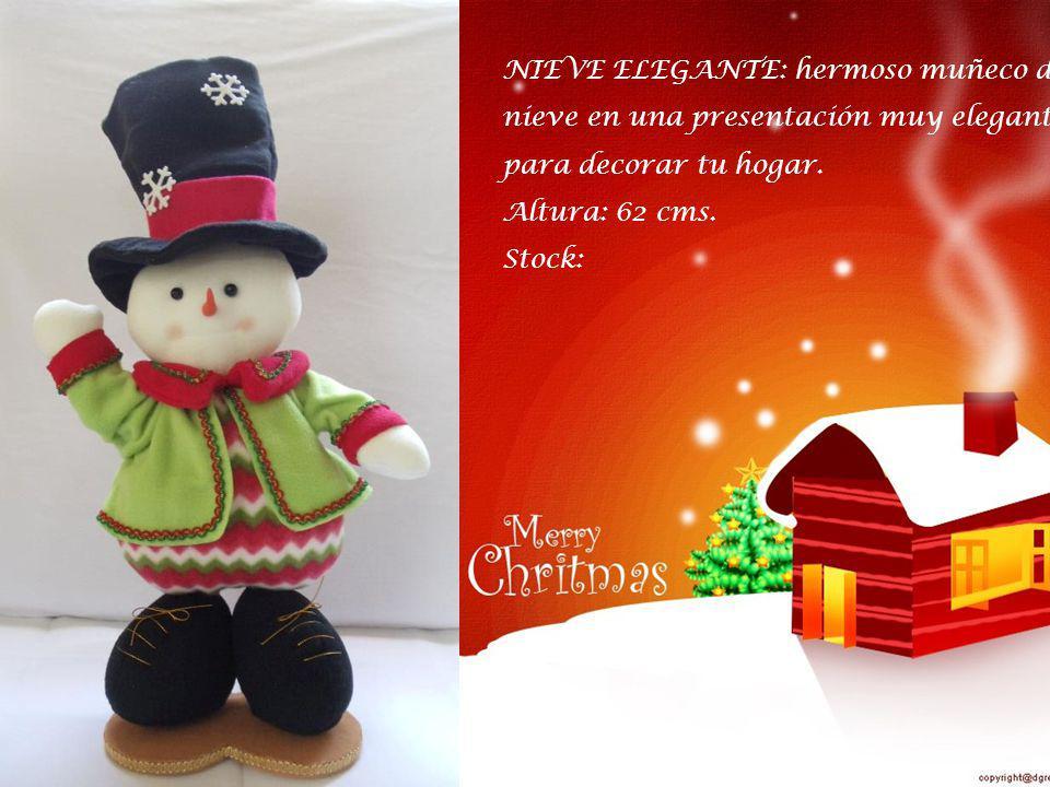 NOEL NAVIDEÑO: colorido y alegre noel gordito con diseños navideños. Altura: 50 cms. Stock: 02