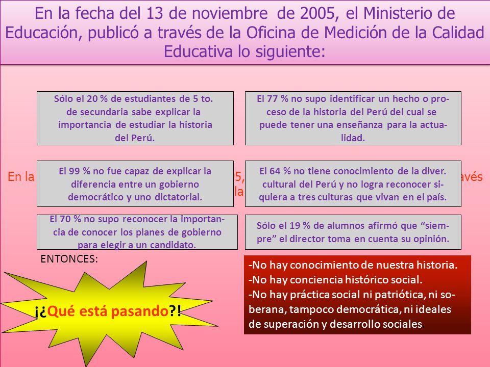 En la fecha del 13 de noviembre de 2005, el Ministerio de Educación, publicó a través de la Oficina de Medición de la Calidad Educativa lo siguiente: Sólo el 20 % de estudiantes de 5 to.