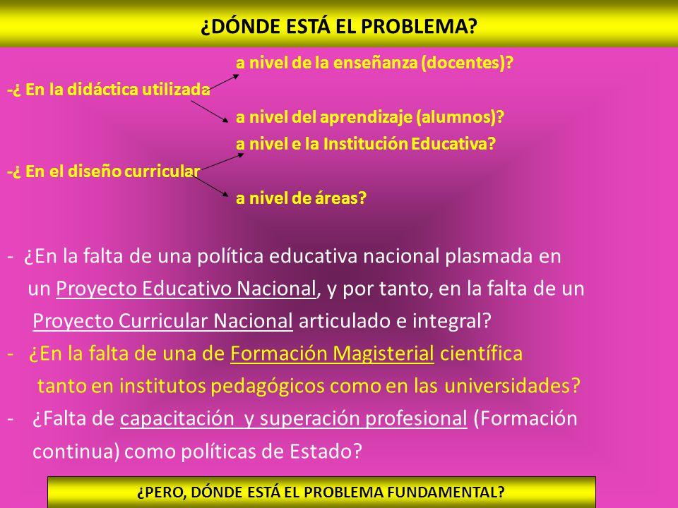 ¿DÓNDE ESTÁ EL PROBLEMA.a nivel de la enseñanza (docentes).