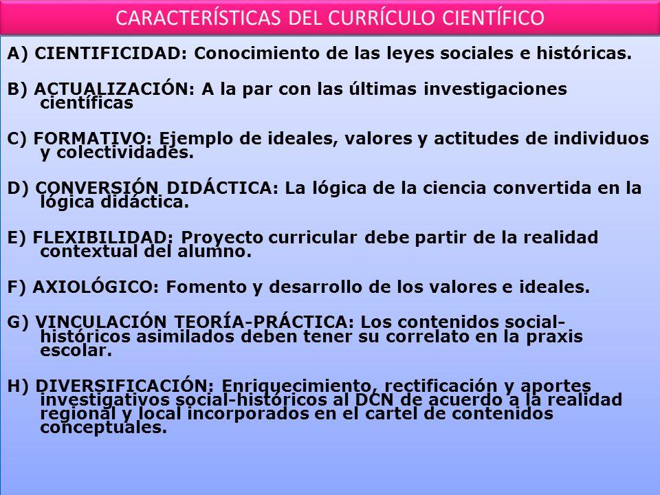 CARACTERÍSTICAS DEL CURRÍCULO CIENTÍFICO A) CIENTIFICIDAD: Conocimiento de las leyes sociales e históricas.