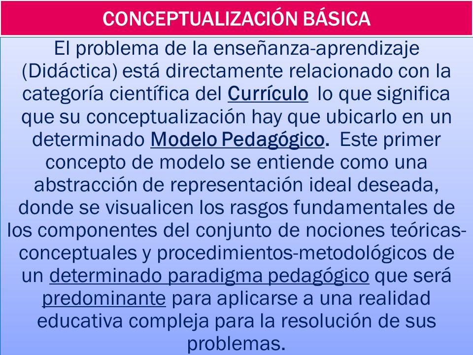 CONCEPTUALIZACIÓN BÁSICA El problema de la enseñanza-aprendizaje (Didáctica) está directamente relacionado con la categoría científica del Currículo lo que significa que su conceptualización hay que ubicarlo en un determinado Modelo Pedagógico.