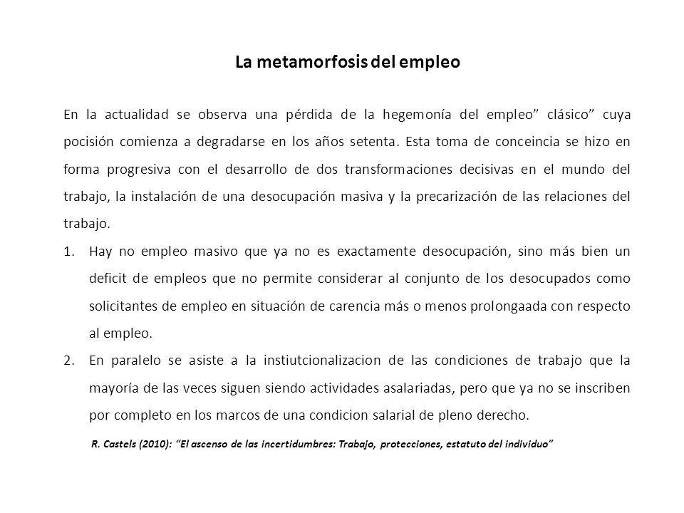 La metamorfosis del empleo En la actualidad se observa una pérdida de la hegemonía del empleo clásico cuya pocisión comienza a degradarse en los años setenta.
