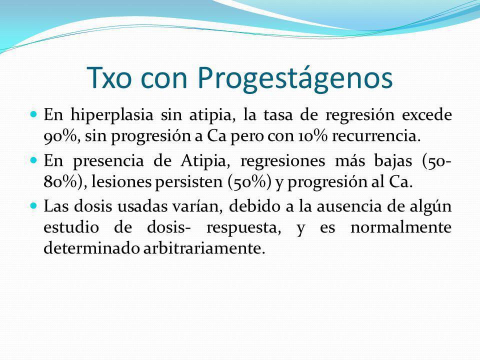 Txo con Progestágenos En hiperplasia sin atipia, la tasa de regresión excede 90%, sin progresión a Ca pero con 10% recurrencia. En presencia de Atipia