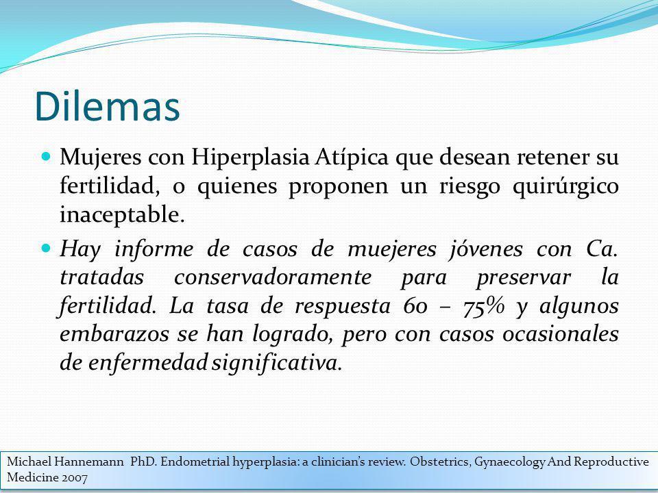 Dilemas Mujeres con Hiperplasia Atípica que desean retener su fertilidad, o quienes proponen un riesgo quirúrgico inaceptable. Hay informe de casos de