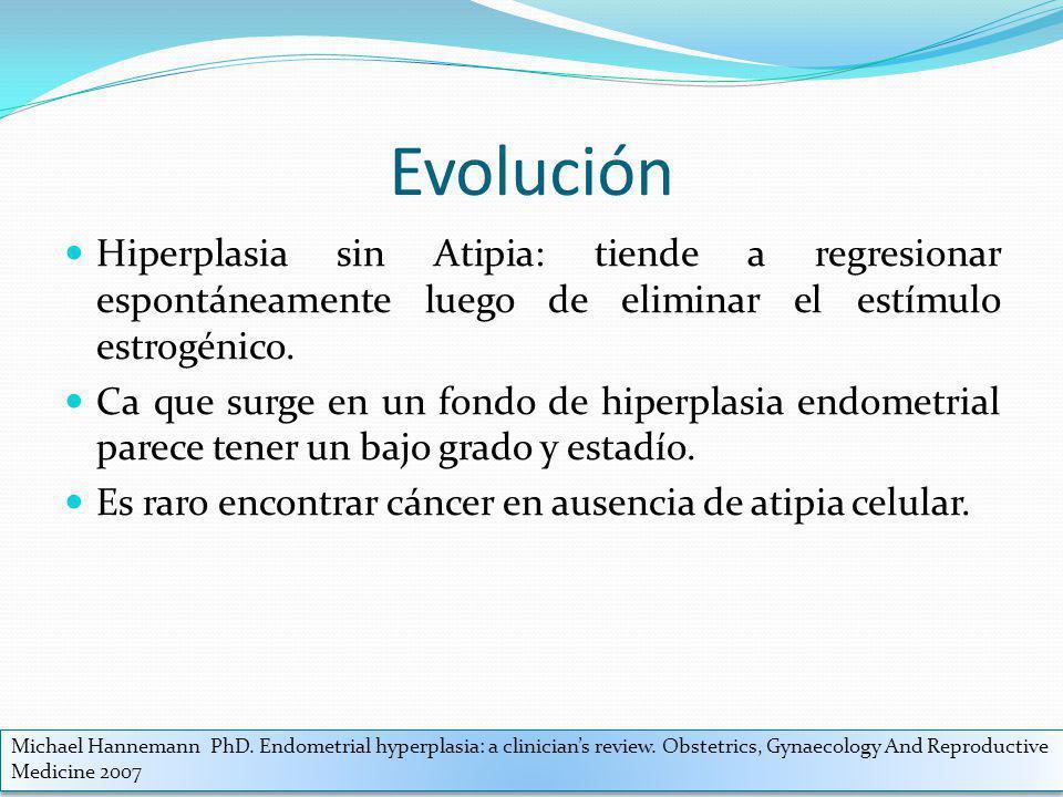 Evolución Hiperplasia sin Atipia: tiende a regresionar espontáneamente luego de eliminar el estímulo estrogénico. Ca que surge en un fondo de hiperpla