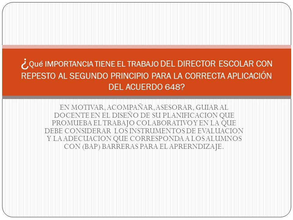 EN MOTIVAR, ACOMPAÑAR, ASESORAR, GUIAR AL DOCENTE EN EL DISEÑO DE SU PLANIFICACION QUE PROMUEBA EL TRABAJO COLABORATIVO Y EN LA QUE DEBE CONSIDERAR LOS INSTRUMENTOS DE EVALUACION Y LA ADECUACION QUE CORRESPONDA A LOS ALUMNOS CON (BAP) BARRERAS PARA EL APRERNDIZAJE.