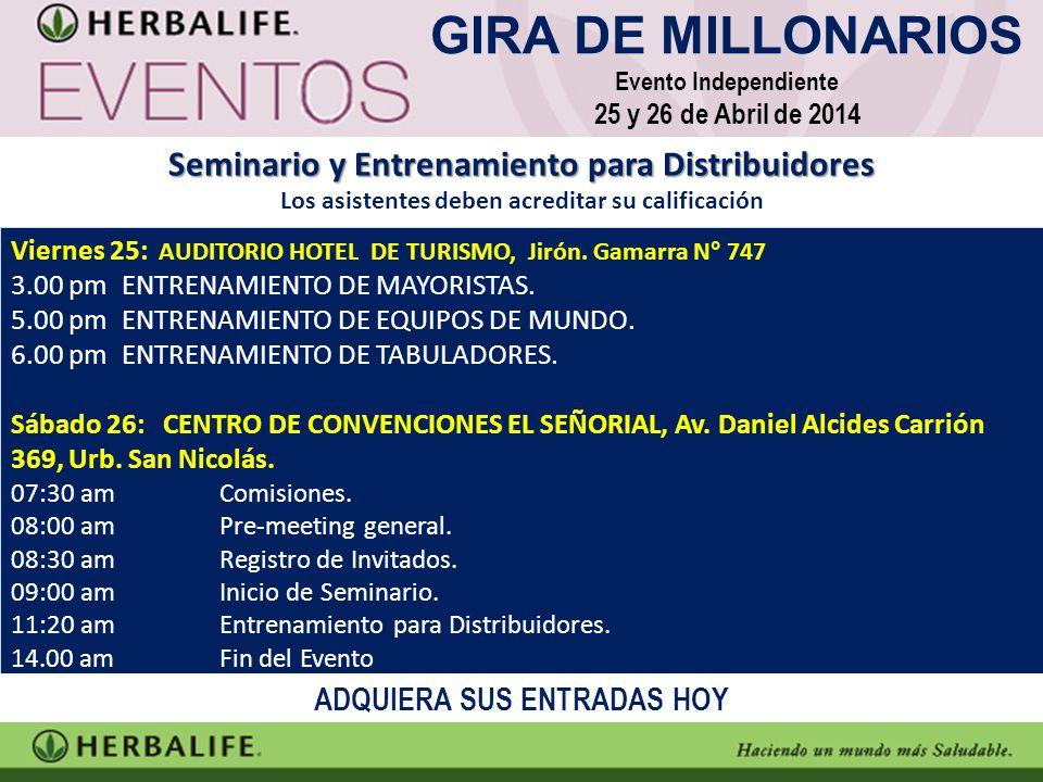 Viernes 25: AUDITORIO HOTEL DE TURISMO, Jirón.Gamarra N° 747 3.00 pm ENTRENAMIENTO DE MAYORISTAS.