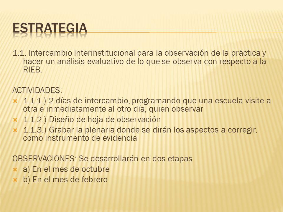 1.1. Intercambio Interinstitucional para la observación de la práctica y hacer un análisis evaluativo de lo que se observa con respecto a la RIEB. ACT