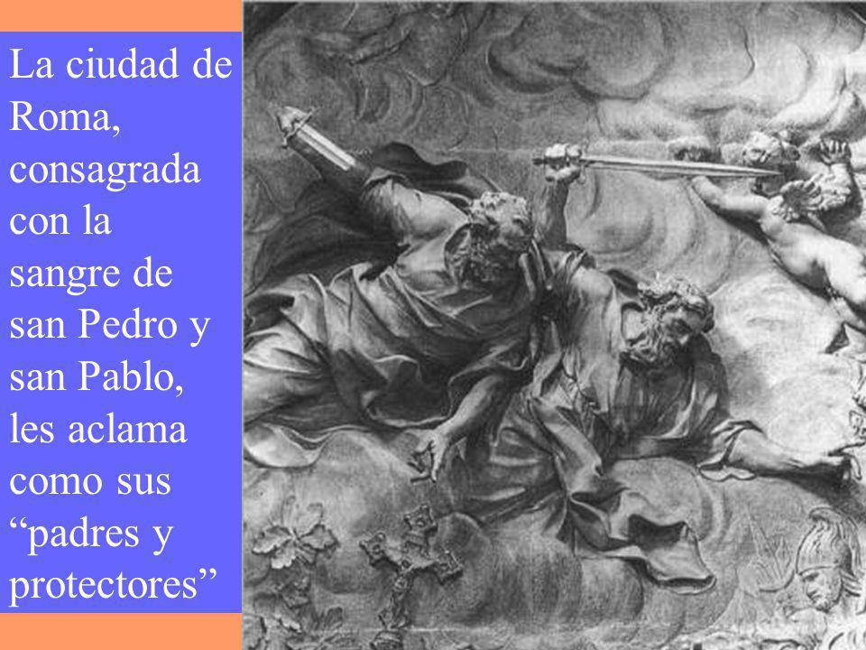 San Pedro y san Pablo dieron su vida por Jesús en Roma. San Pedro crucificado, con la cabeza abajo, para no ser igual que su maestro. San Pablo, corta