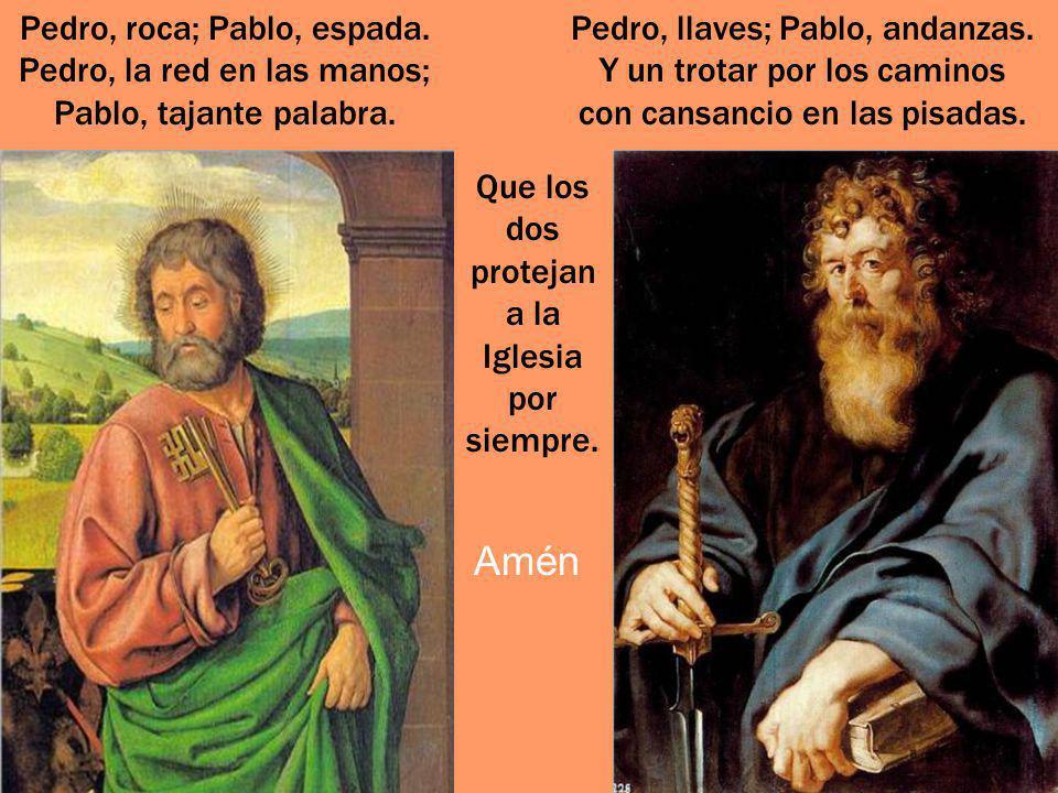 La ciudad de Roma, consagrada con la sangre de san Pedro y san Pablo, les aclama como sus padres y protectores