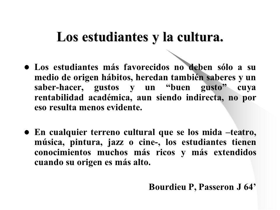 Los estudiantes y la cultura. Los estudiantes más favorecidos no deben sólo a su medio de origen hábitos, heredan también saberes y un saber-hacer, gu