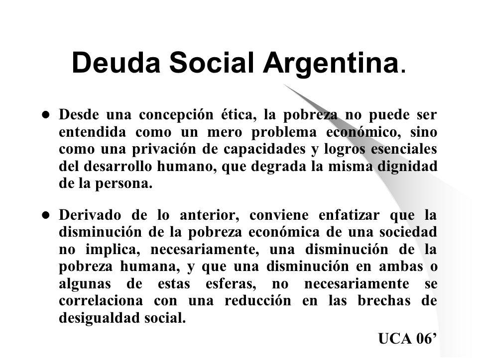 Deuda Social Argentina. Desde una concepción ética, la pobreza no puede ser entendida como un mero problema económico, sino como una privación de capa