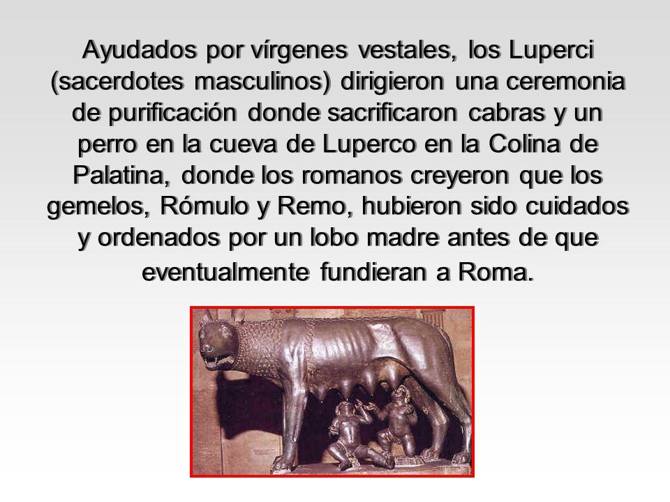 Ayudados por vírgenes vestales, los Luperci (sacerdotes masculinos) dirigieron una ceremonia de purificación donde sacrificaron cabras y un perro en l