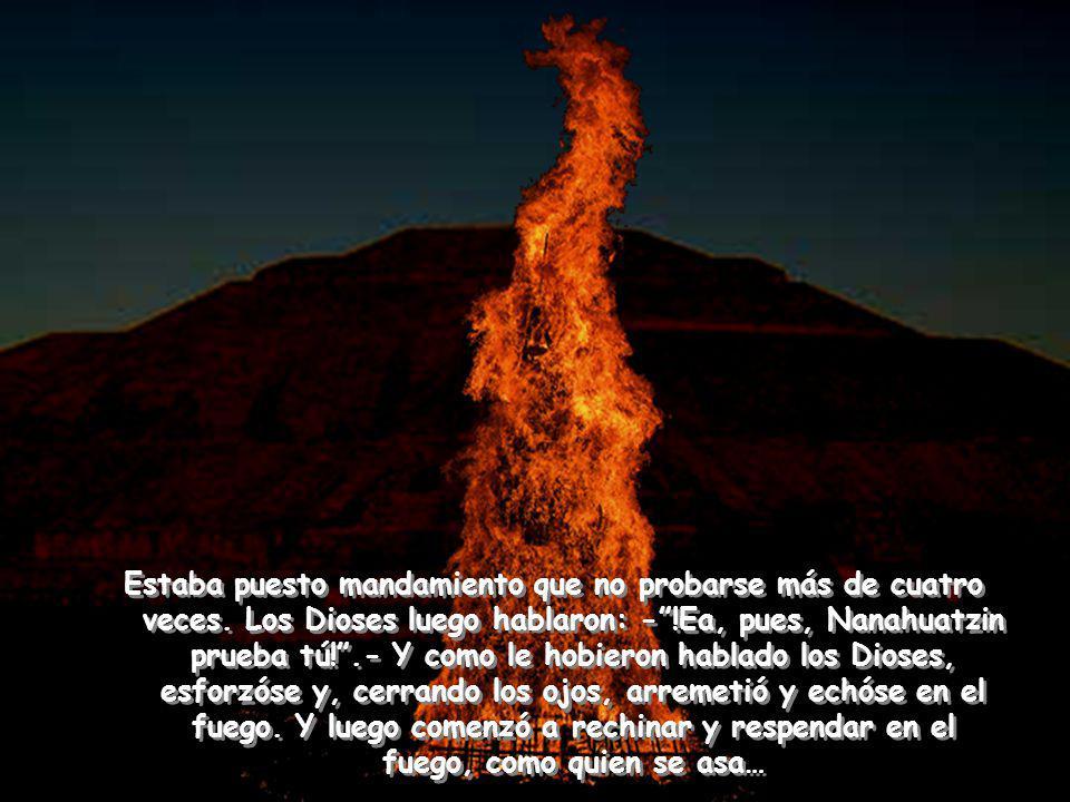 Y luego hablaron los Dioses: -!Ea, pues, Tecuciztécatl, entra tú en el fuego!.- Y él acometió para echarse en el fuego.