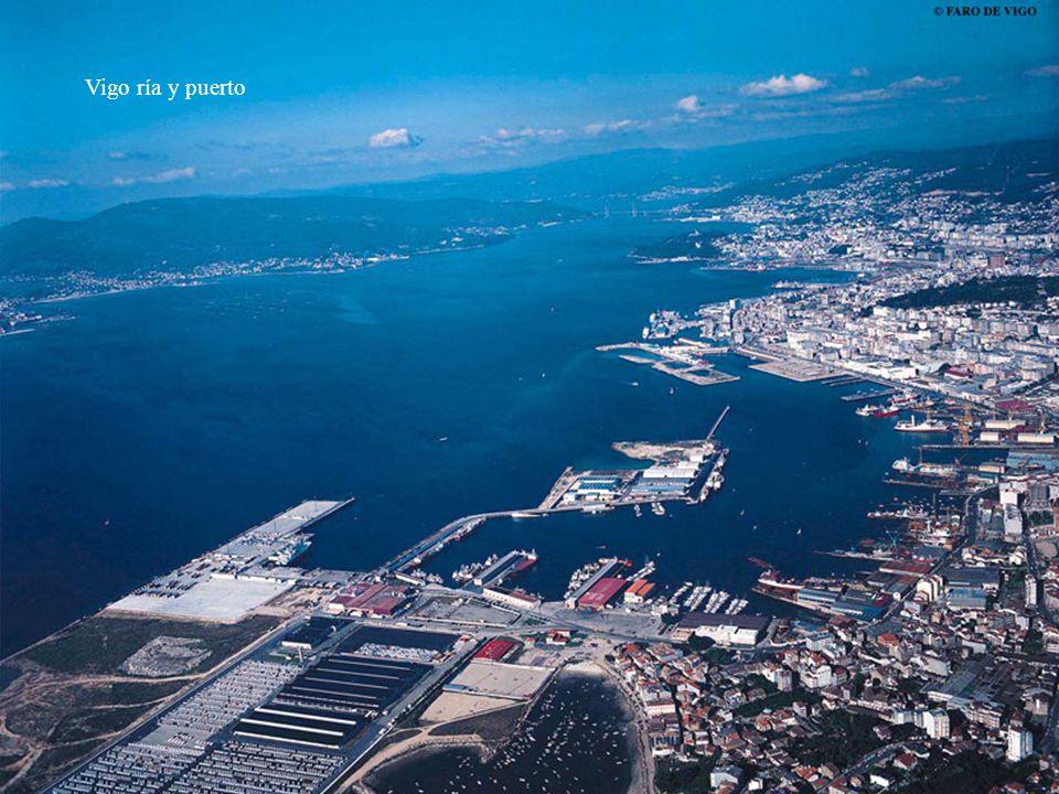Vigo panorámico puerto y ría.