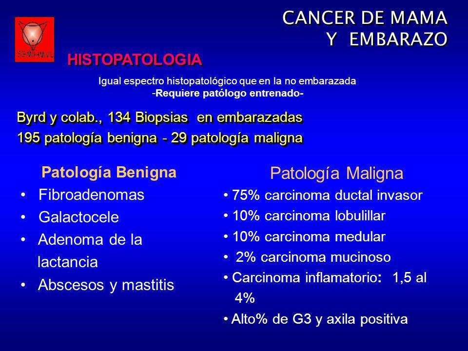 Igual espectro histopatológico que en la no embarazada -Requiere patólogo entrenado- CANCER DE MAMA Y EMBARAZO HISTOPATOLOGIA CANCER DE MAMA Y EMBARAZ