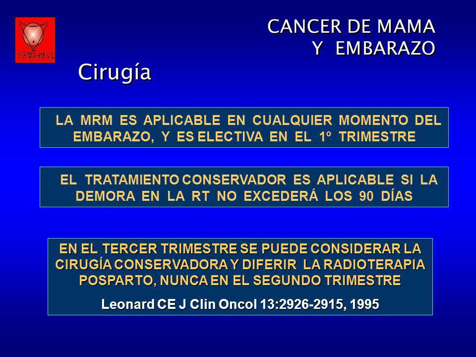 CANCER DE MAMA Y EMBARAZO Cirugía CANCER DE MAMA Y EMBARAZO Cirugía LA MRM ES APLICABLE EN CUALQUIER MOMENTO DEL EMBARAZO, Y ES ELECTIVA EN EL 1º TRIM