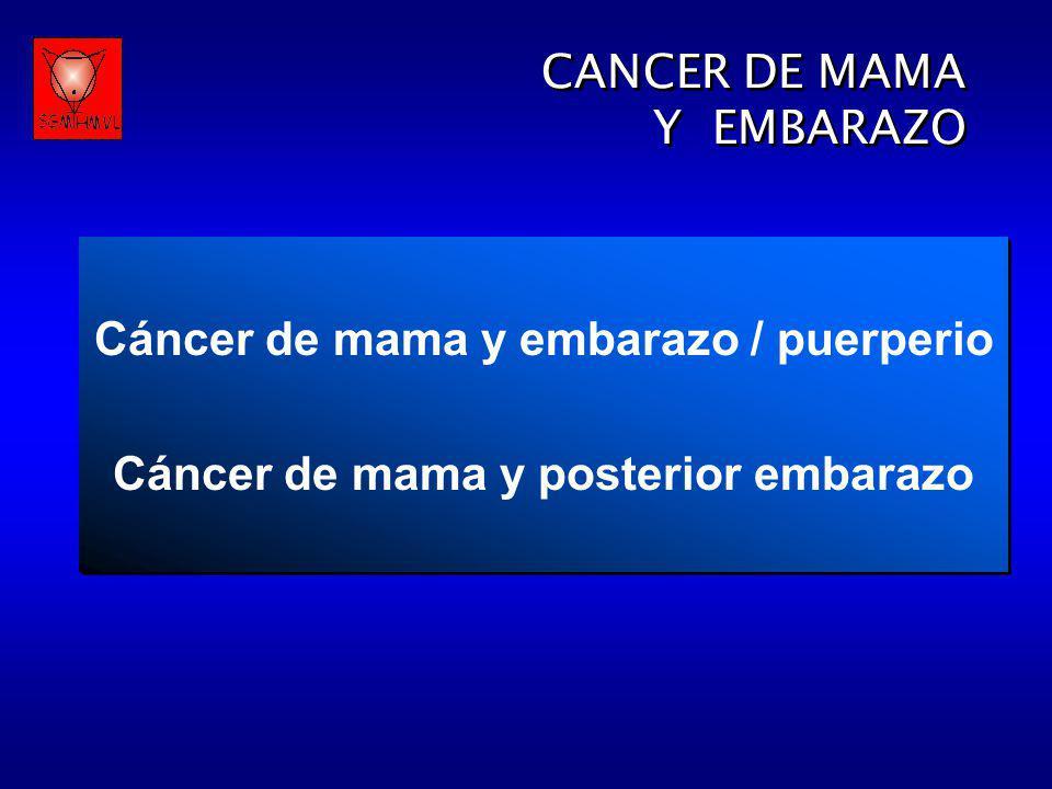 CANCER DE MAMA Y EMBARAZO CANCER DE MAMA Y EMBARAZO Definición Es el cáncer de mama diagnosticado durante el embarazo o la lactancia, o el detectado hasta un año después de producido el parto o 6 meses post- aborto.