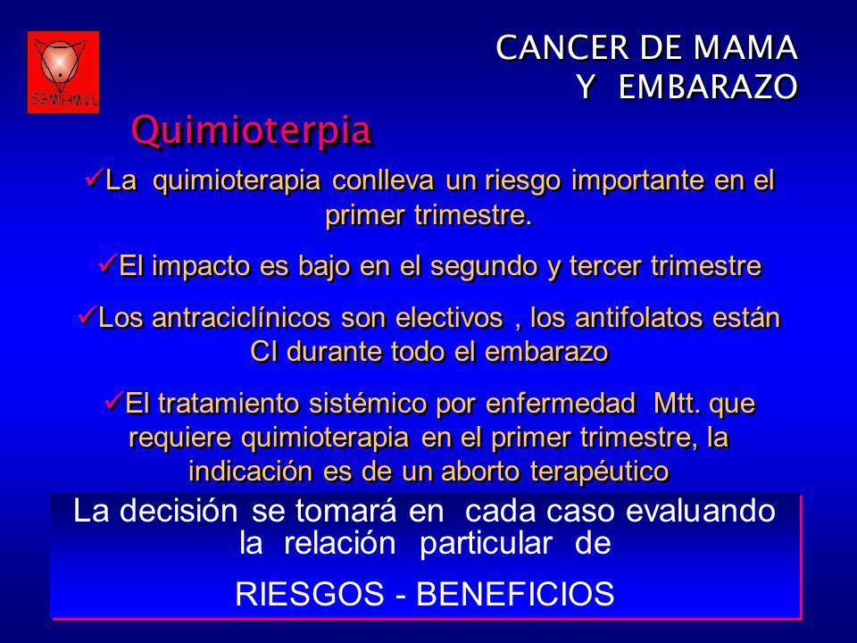 CANCER DE MAMA Y EMBARAZOQuimioterpia CANCER DE MAMA Y EMBARAZOQuimioterpia La quimioterapia conlleva un riesgo importante en el primer trimestre. El