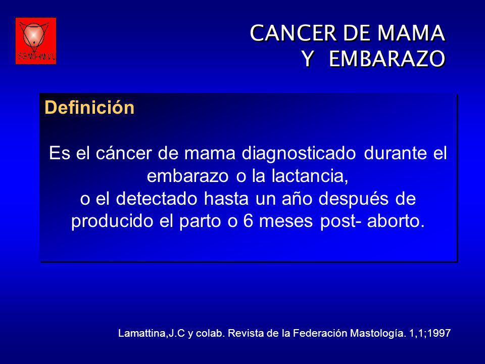 CANCER DE MAMA Y EMBARAZO CANCER DE MAMA Y EMBARAZO Definición Es el cáncer de mama diagnosticado durante el embarazo o la lactancia, o el detectado h