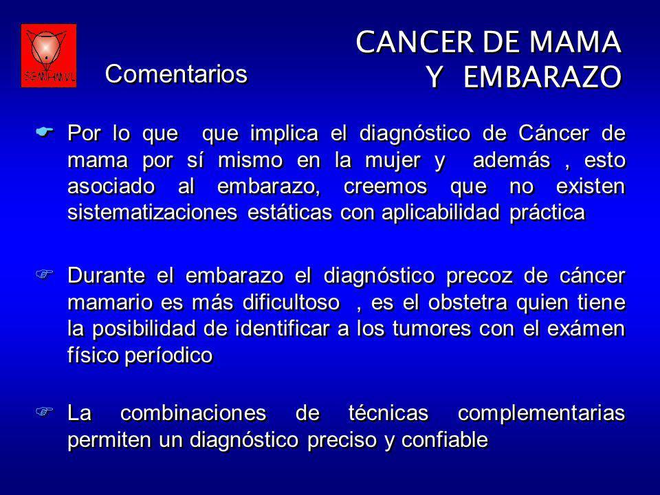 CANCER DE MAMA Y EMBARAZO CANCER DE MAMA Y EMBARAZO Por lo que que implica el diagnóstico de Cáncer de mama por sí mismo en la mujer y además, esto as