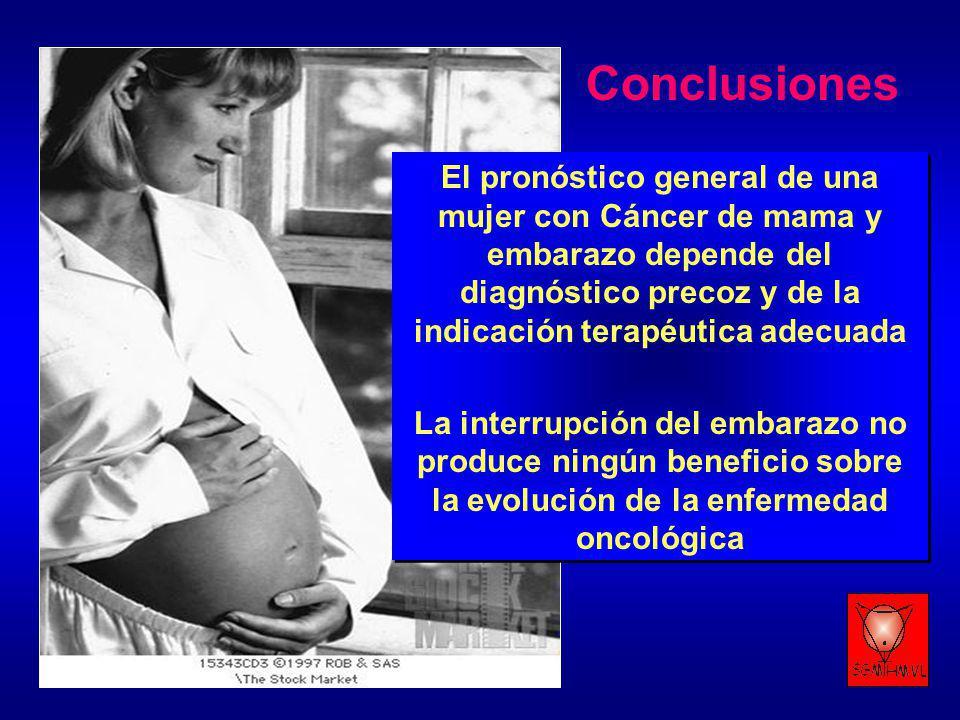 El pronóstico general de una mujer con Cáncer de mama y embarazo depende del diagnóstico precoz y de la indicación terapéutica adecuada La interrupció