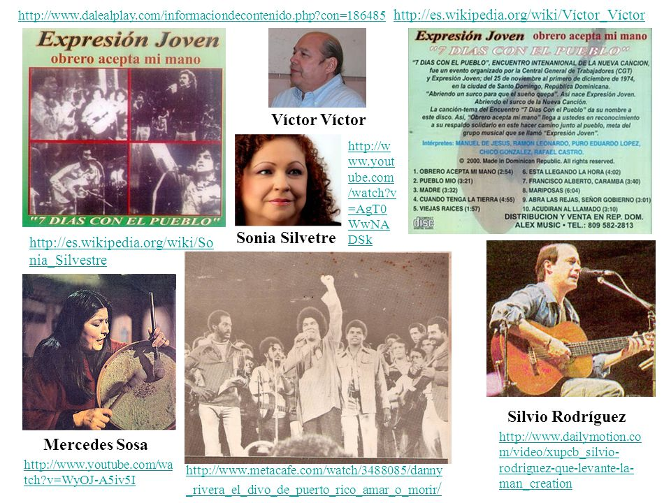 Mercedes Sosa Víctor Víctor Sonia Silvetre Silvio Rodríguez http://www.dalealplay.com/informaciondecontenido.php?con=186485http://www.dalealplay.com/i