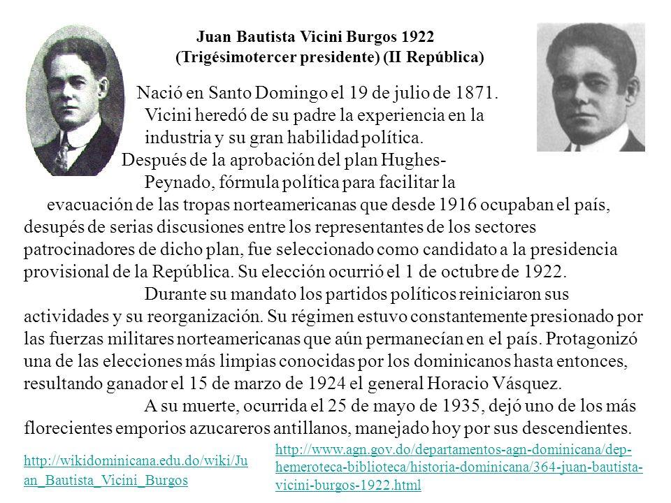Nació en Santo Domingo el 19 de julio de 1871. Vicini heredó de su padre la experiencia en la industria y su gran habilidad política. Después de la ap