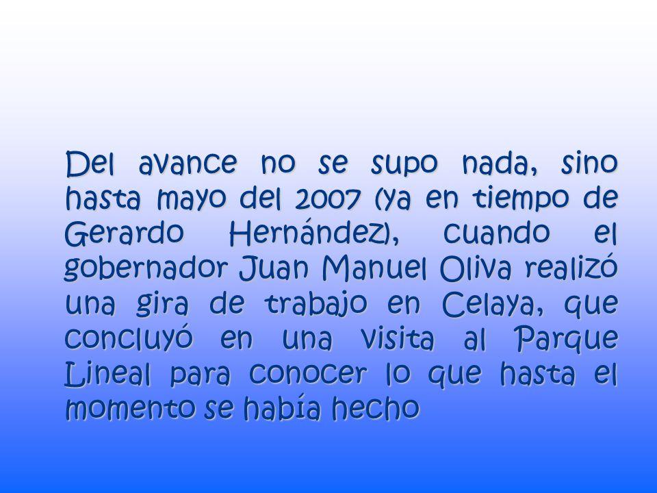 A meses de concluir su mandato, en julio de 2006, José Rivera presumió ante los medios, invitándolos a dar un recorrido por las obras ya realizadas, en su primera etapa de las tres que se tiene contempladas en el proyecto, donde él mismo fungió como guía .