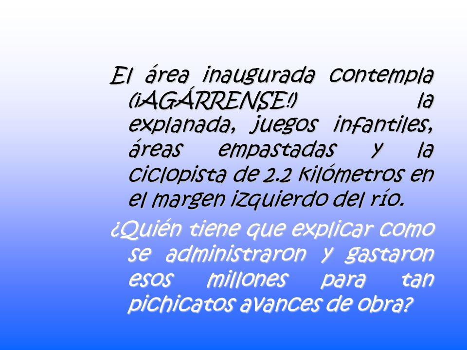 A pesar de solo estar parcialmente terminada la sexta parte del proyecto original, a seis años de su inicio, se inaugura con bombo y platillo en plena efervescencia electoral el parque lineal o malecón: La megasorpresa panista más cara e inútil en Guanajuato