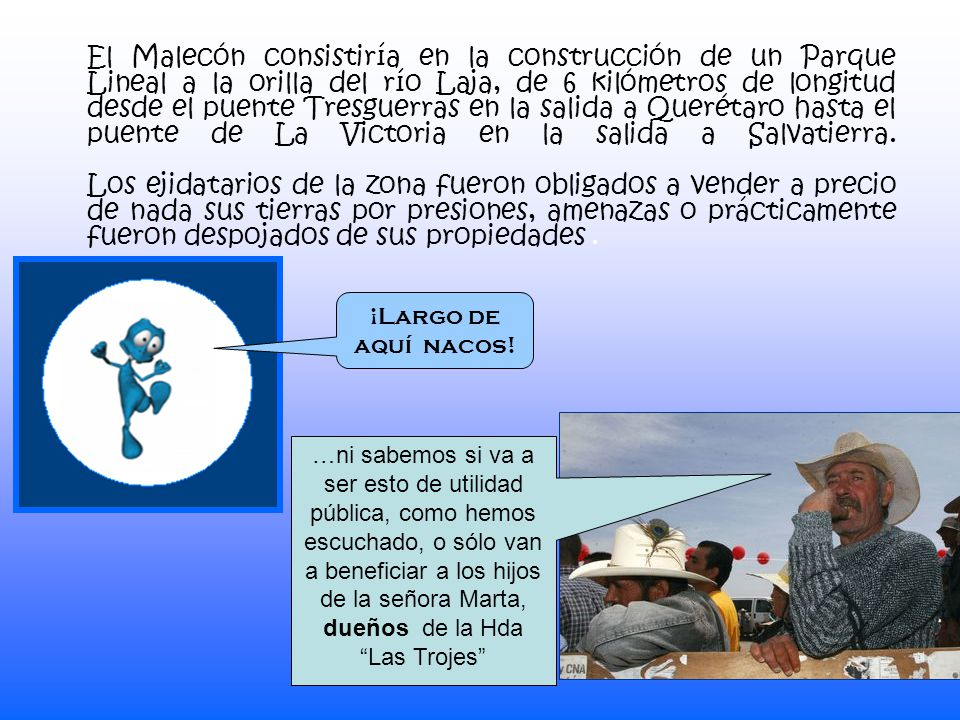 El Malecón consistiría en la construcción de un Parque Lineal a la orilla del río Laja, de 6 kilómetros de longitud desde el puente Tresguerras en la salida a Querétaro hasta el puente de La Victoria en la salida a Salvatierra.