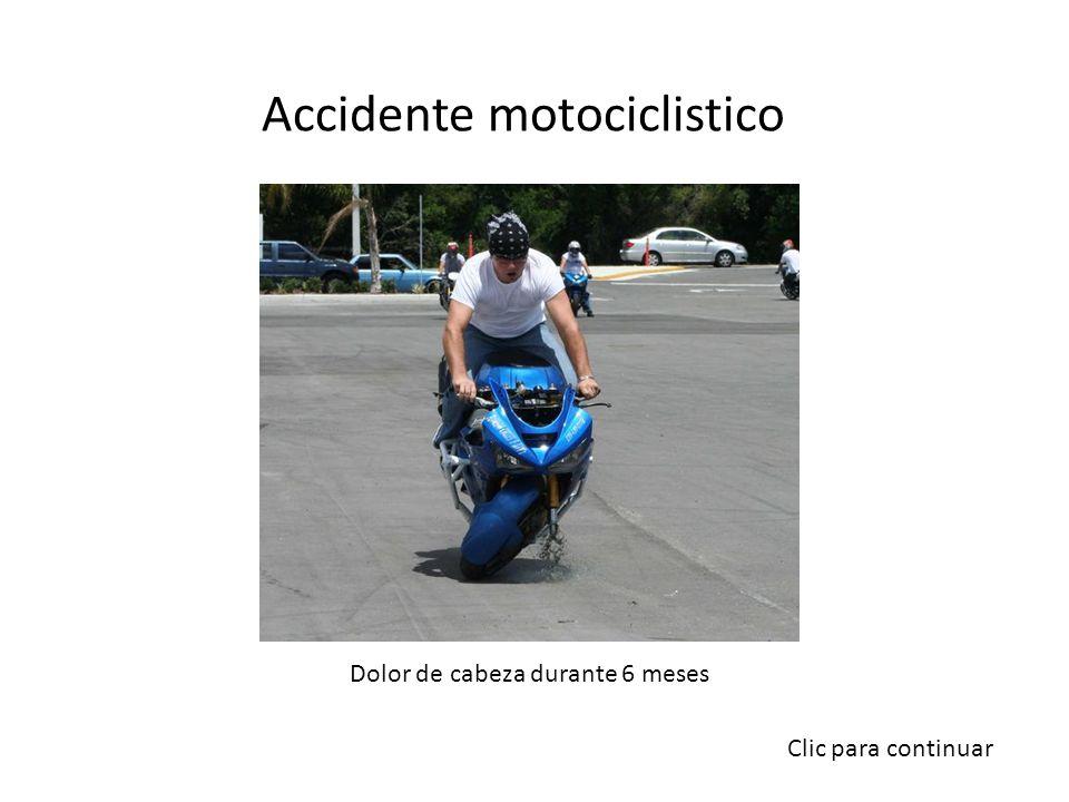 Accidente motociclistico Dolor de cabeza durante 6 meses Clic para continuar