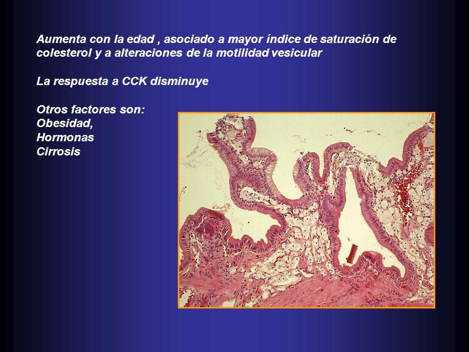 Aumenta con la edad, asociado a mayor índice de saturación de colesterol y a alteraciones de la motilidad vesicular La respuesta a CCK disminuye Otros factores son: Obesidad, Hormonas Cirrosis
