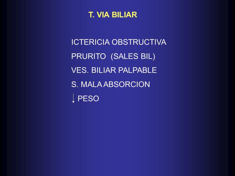 ICTERICIA OBSTRUCTIVA PRURITO (SALES BIL) VES. BILIAR PALPABLE S. MALA ABSORCION PESO T. VIA BILIAR