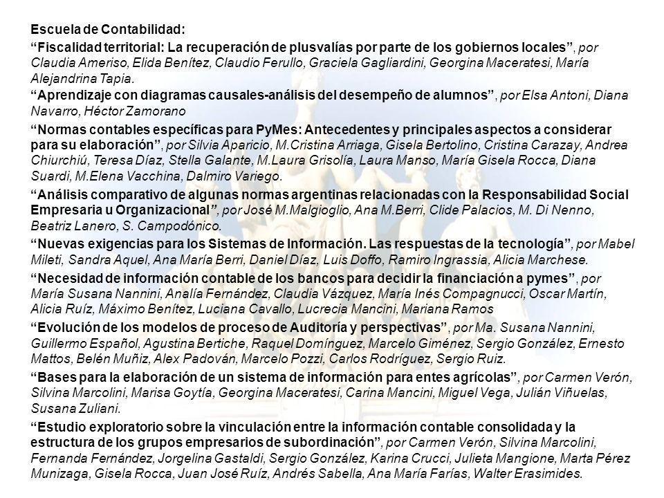 Escuela de Contabilidad: Fiscalidad territorial: La recuperación de plusvalías por parte de los gobiernos locales, por Claudia Ameriso, Elida Benítez,