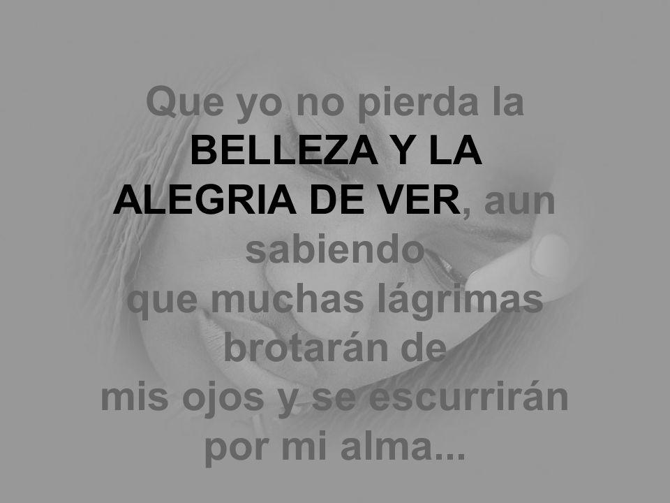 Que yo no pierda la BELLEZA Y LA ALEGRIA DE VER, aun sabiendo que muchas lágrimas brotarán de mis ojos y se escurrirán por mi alma...