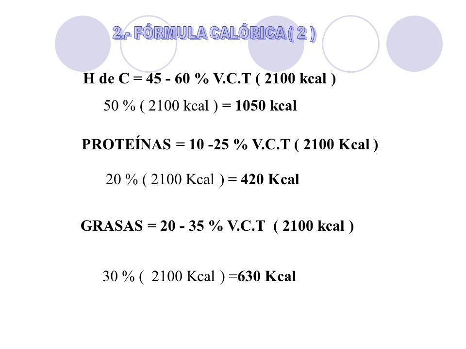 H de C = 45 - 60 % V.C.T ( 2100 kcal ) 50 % ( 2100 kcal ) = 1050 kcal PROTEÍNAS = 10 -25 % V.C.T ( 2100 Kcal ) 20 % ( 2100 Kcal ) = 420 Kcal GRASAS =