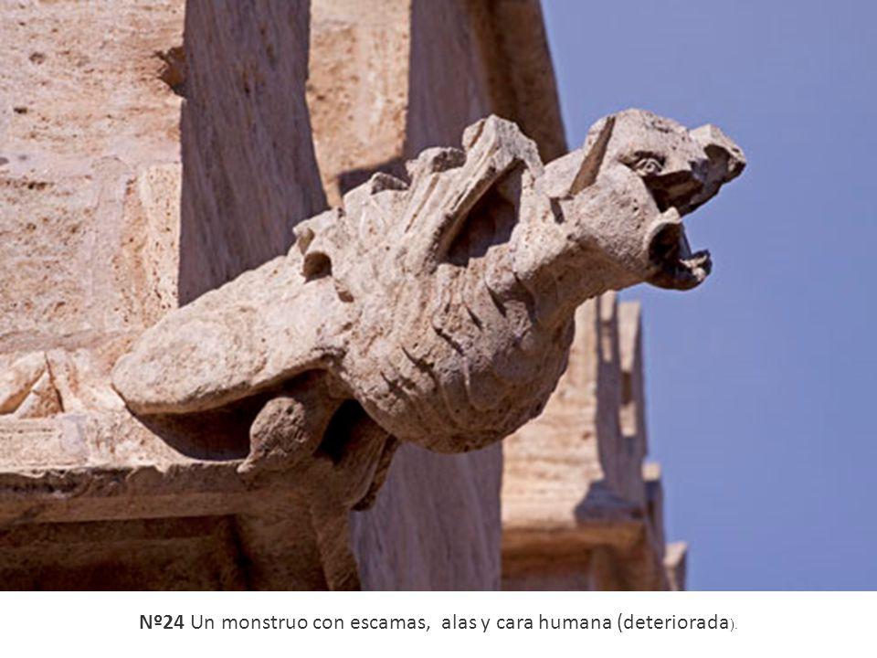 Nº24 Un monstruo con escamas, alas y cara humana (deteriorada ).