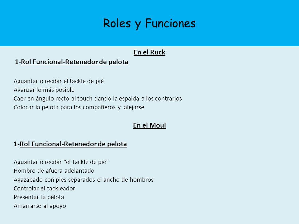 Roles y Funciones En el Ruck 1-Rol Funcional-Retenedor de pelota Aguantar o recibir el tackle de pié Avanzar lo más posible Caer en ángulo recto al to