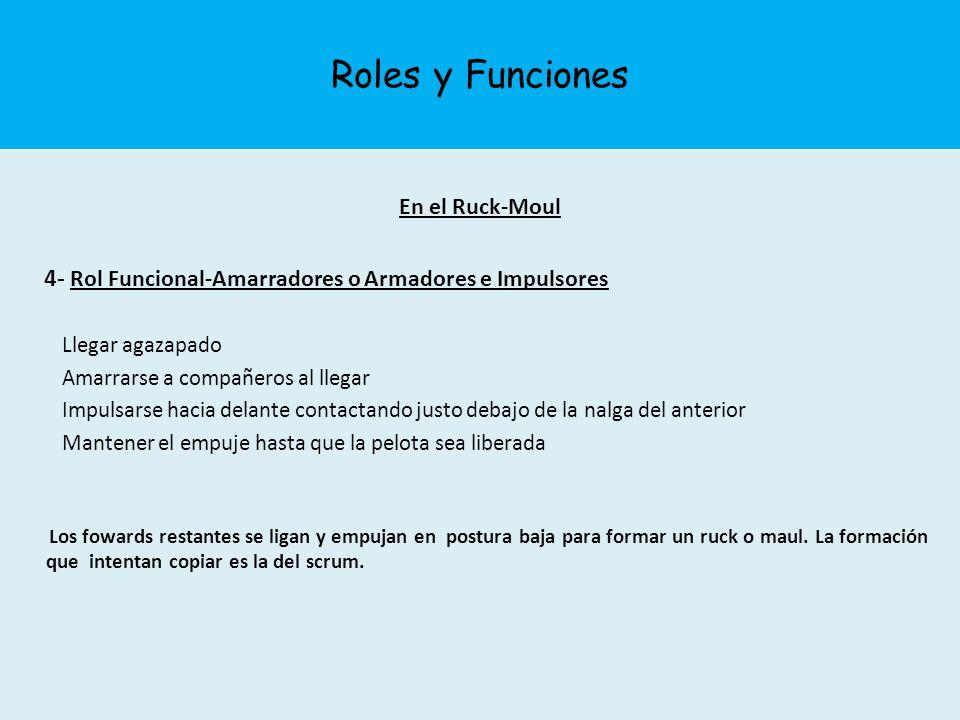 Roles y Funciones En el Ruck-Moul 4- Rol Funcional-Amarradores o Armadores e Impulsores Llegar agazapado Amarrarse a compañeros al llegar Impulsarse h