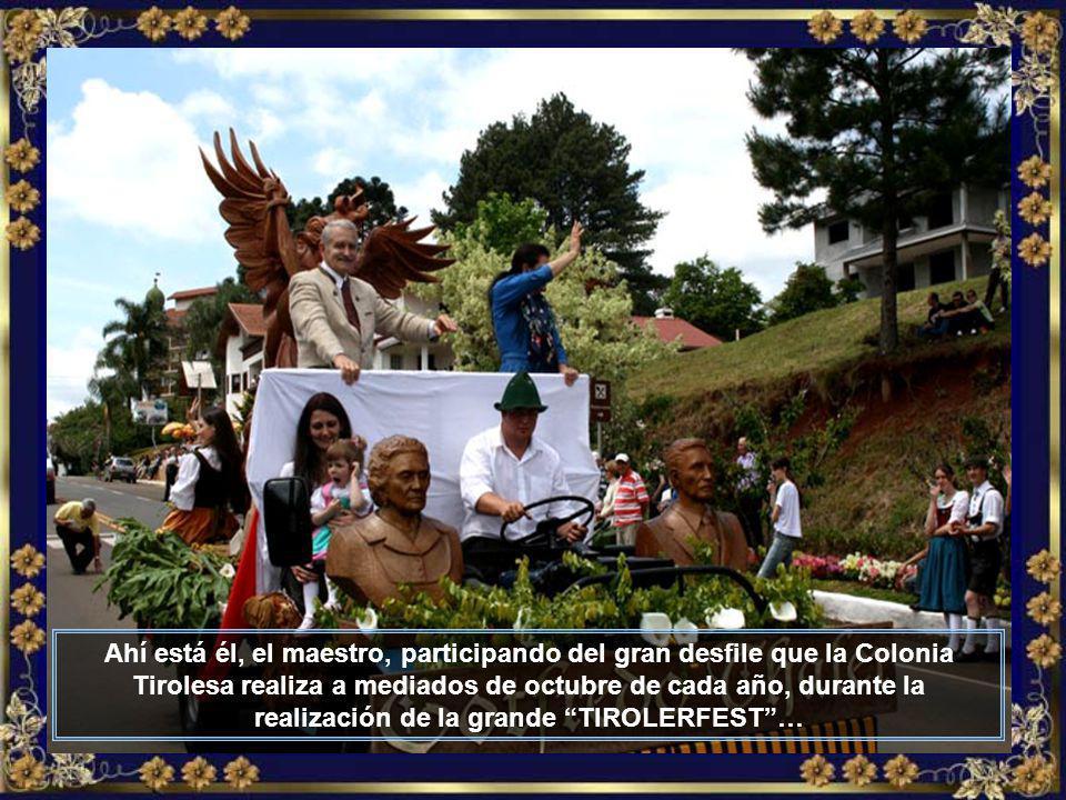 Gotfredo Thaler, nieto del fundador de la ciudad, es el exponente máximo en el arte en madera, en especial en figuras sacras, que proyecta el nombre de Treze Tílias para Brasil y para el mundo…