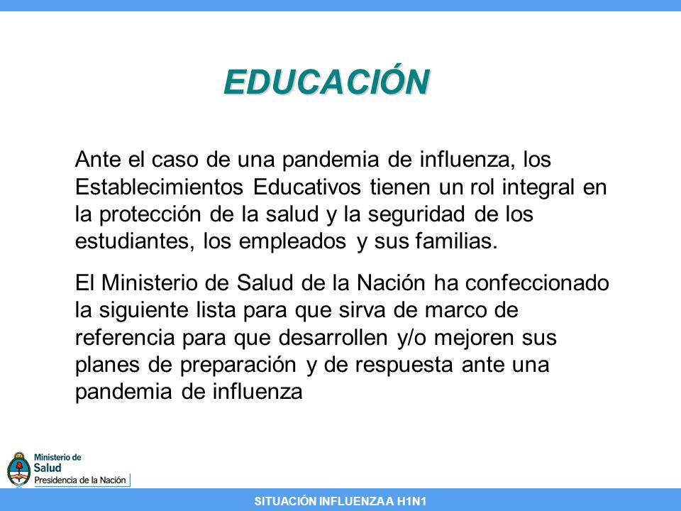 SITUACIÓN INFLUENZA A H1N1 EDUCACIÓN Lista de planificación para la influenza pandémica en facultades y universidades Secciones de la lista: Planificación y coordinación Operaciones y continuidad del aprendizaje de los estudiantes Políticas y procedimientos para el control de la infección Planificación de las comunicaciones