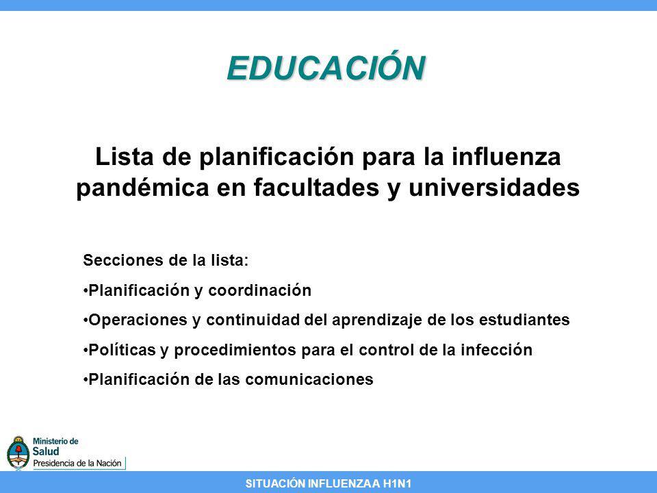 SITUACIÓN INFLUENZA A H1N1 EDUCACIÓN Lista de planificación para la influenza pandémica en facultades y universidades Secciones de la lista: Planifica