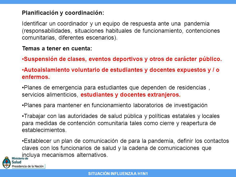 SITUACIÓN INFLUENZA A H1N1 Planificación y coordinación: Identificar un coordinador y un equipo de respuesta ante una pandemia (responsabilidades, sit
