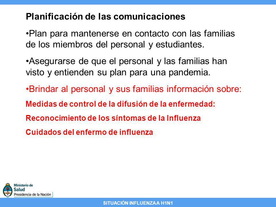 SITUACIÓN INFLUENZA A H1N1 Planificación de las comunicaciones Plan para mantenerse en contacto con las familias de los miembros del personal y estudi