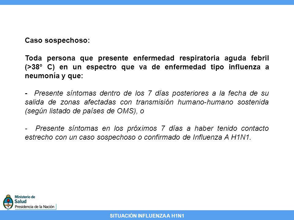 SITUACIÓN INFLUENZA A H1N1 Caso sospechoso: Toda persona que presente enfermedad respiratoria aguda febril (>38° C) en un espectro que va de enfermeda